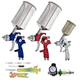 TCP Global Complete Professional 9 Piece HVLP Spray Gun Set with 2 Full Size Spray Guns, 1 Detail...