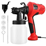 Paint Sprayer, 700W Electric Paint Spray Gun with 3 Nozzle, 3 Spraying Patts, 900 ml Paint Container...