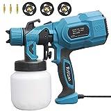 Rrtizan Paint Sprayer, 800W High Power HVLP Spray Gun, Electric Paint Gun with 3 Copper Nozzles, 3...