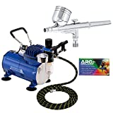 Master Airbrush Multi-purpose Gravity Feed Dual-action Airbrush Kit with 6 Foot Hose and a Powerful...