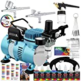 Master Airbrush Cool Runner II Dual Fan Air Compressor Professional Airbrushing System Kit with 3...
