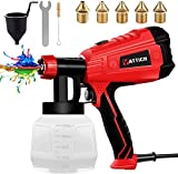 YATTICH Paint Sprayer, High Power HVLP Spray Gun, with 5 Copper Nozzles & 3 Patterns, Easy to Clean,...