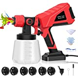 Paint Sprayer, High Power HVLP Spray Gun with 6 Nozzles & 3 Patterns, 1000ml Container, Easy...